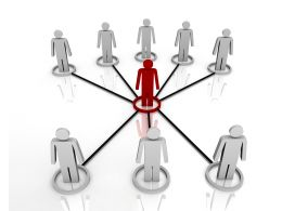 3d Men Team Connected Through Leadership Network Stock Photo