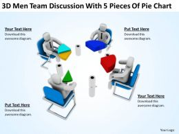 3d_men_team_discussion_with_5_pieces_of_pie_chart_ppt_graphics_icons_Slide01