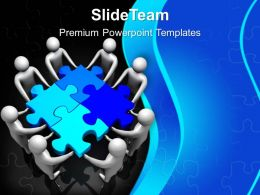 3d Men Team Holding Puzzle Powerpoint Templates Ppt Backgrounds For Slides 0213