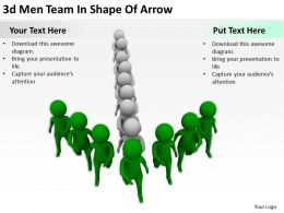 3D Men Team In Shape Of Arrow Ppt Graphics Icons