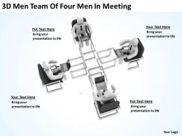 3D Men Team Of Four Men In Meeting Ppt Graphics Icons