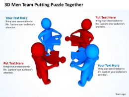 3D Men Team Putting Puzzle Together Communication Concept Ppt Graphics Icons