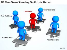 3D Men Team Standing On Puzzle Pieces Ppt Graphics Icons
