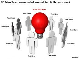 3D Men Team surrounded around Red Bulb team work Ppt Graphic Icon