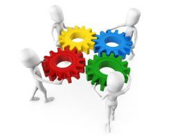 3D Men Team With Multicolored Gears Work Concept Stock Photo