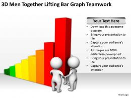 3D Men Together Lifting Bar Graph Teamwork Ppt Graphics Icons Powerpoint
