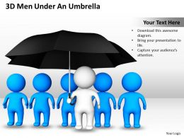 3D Men Under An Umbrella Cooperation Protection Ppt Graphics Icons