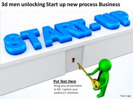 3d men unlocking Start up new process Business Ppt Graphic Icon