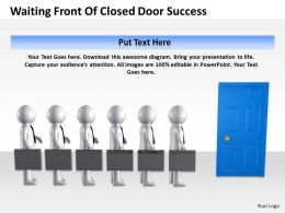 3D Men Waiting Front of Closed Door pateince leads to Success Ppt Graphic Icon