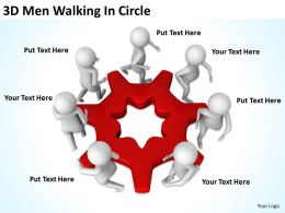 3D Men Walking In Circle Ppt Graphics Icons Powerpoint