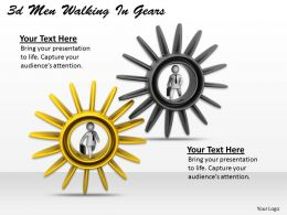3d Men Walking In Gears Ppt Graphics Icons Powerpoint