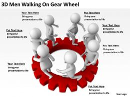 3D Men Walking On Gear Wheel Ppt Graphics Icons Powerpoint