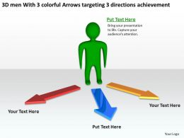 3d_men_with_3_colorful_arrows_targeting_3_directions_achievement_ppt_graphic_icon_Slide01