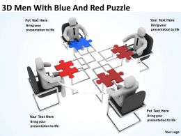 3D Men With Blue And Red Puzzle Ppt Graphics Icons Powerpoint