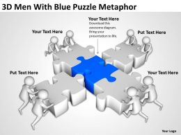 3D Men With Blue Puzzle Metaphor Ppt Graphics Icons Powerpoint