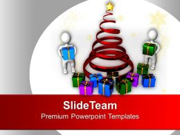 3d Men With Christmas Tree And Gifts PowerPoint Templates PPT Backgrounds For Slides 0113