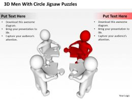 3D Men With Circle Jigsaw Puzzles Completing Business Solution Ppt Graphics Icons