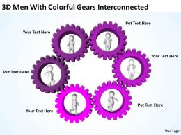 3D Men With Colorful Gears Interconnected Ppt Graphics Icons Powerpoint