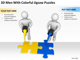 3D Men With Colorful Jigsaw Puzzles Ppt Graphics Icons Powerpoint