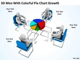3D Men With Colorful Pie Chart Growth Ppt Graphics Icons Powerpoint