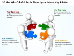 3D Men With Colorful Puzzle Pieces Jigsaw Interlocking Solution Ppt Graphic Icon