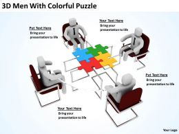 3D Men With Colorful Puzzle Ppt Graphics Icons