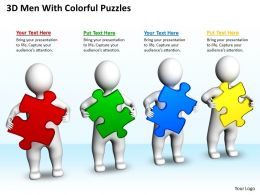 3D Men With Colorful Puzzles Business Partnership Ppt Graphics Icons