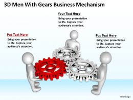 3D Men With Gears Business Mechanism Ppt Graphics Icons