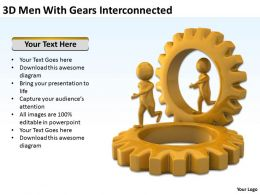 3D Men With Gears Interconnected Ppt Graphics Icons Powerpoint