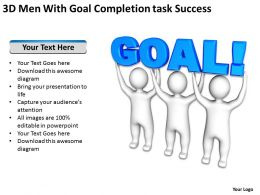 3D Men With Goal Completion task Success Ppt Graphic Icon