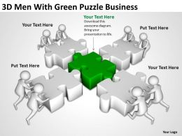 3D Men With Green Puzzle Business Ppt Graphics Icons Powerpoint