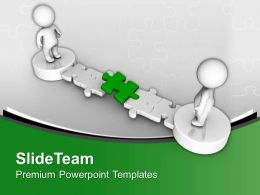 3d Men With Green Puzzle Pathway Powerpoint Templates Ppt Themes And Graphics 0213