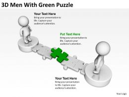 3D Men With Green Puzzle Ppt Graphics Icons Powerpoint