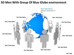 3D Men With Group Of Blue Globe environment Ppt Graphic Icon