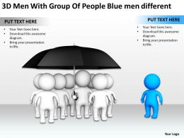 3D Men With Group Of People Blue men different Ppt Graphic Icon