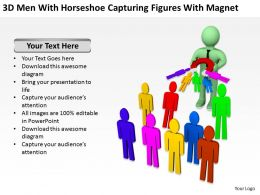 3D Men With Horseshoe Capturing Figures With Magnet Ppt Graphics Icons Powerpoin