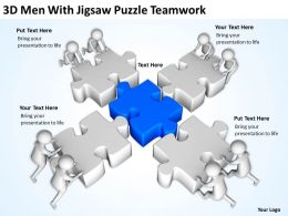 3D Men With Jigsaw Puzzle Teamwork Ppt Graphics Icons Powerpoint