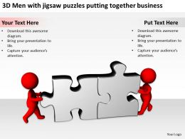 3D Men with jigsaw puzzles putting together business Ppt Graphics Icons