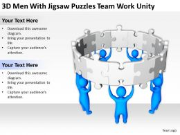 3D Men With Jigsaw Puzzles team work unity Ppt Graphics Icons