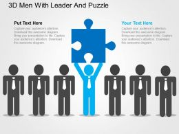 3d Men With Leader And Puzzle Flat Powerpoint Design