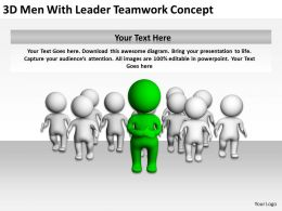 3D Men With Leader Teamwork Concept Ppt Graphics Icons Powerpoint