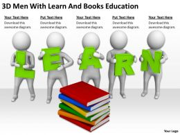 3D Men With Learn And Books Education Ppt Graphics Icons Powerpoint