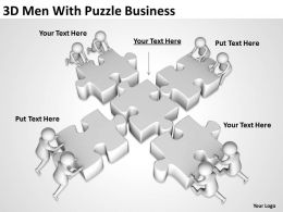 3D Men With Puzzle Business Ppt Graphics Icons Powerpoint