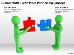 3D Men With Puzzle Piece Partnership Concept Ppt Graphics Icons Powerpoint