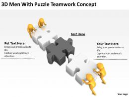 3D Men With Puzzle Teamwork Concept Ppt Graphics Icons Powerpoint