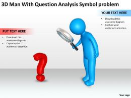3D Men With Question Analysis Symbol problem Ppt Graphic Icon
