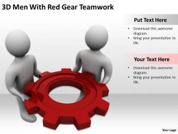 3D Men With Red Gear Teamwork Ppt Graphics Icons Powerpoint