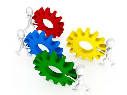 3D Men With Red Green Blue Yellow Gears Team Partnership Stock Photo