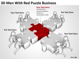 3D Men With Red Puzzle Business Ppt Graphics Icons Powerpoint