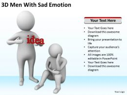 3D Men With Sad Emotion Ppt Graphics Icons Powerpoint